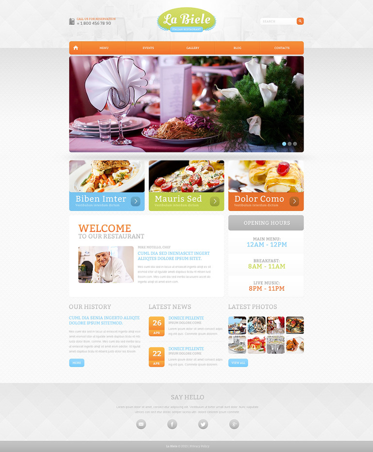 Italian Restaurant Drupal Template New Screenshots BIG