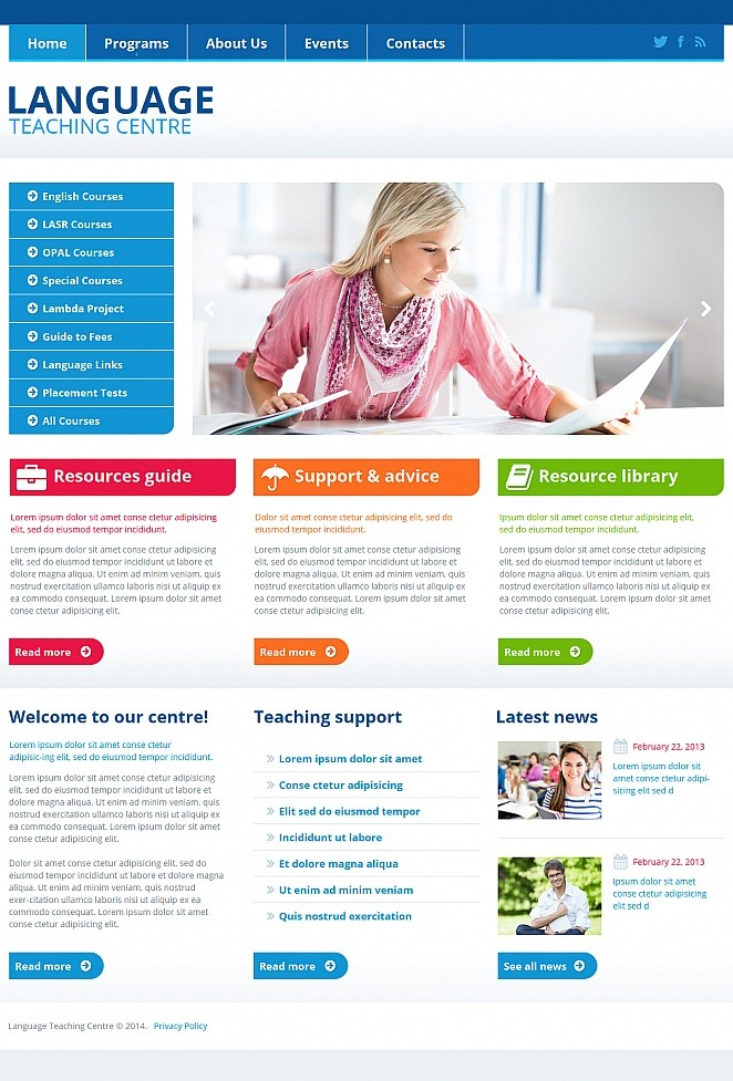 Language School Moto CMS HTML Template New Screenshots BIG