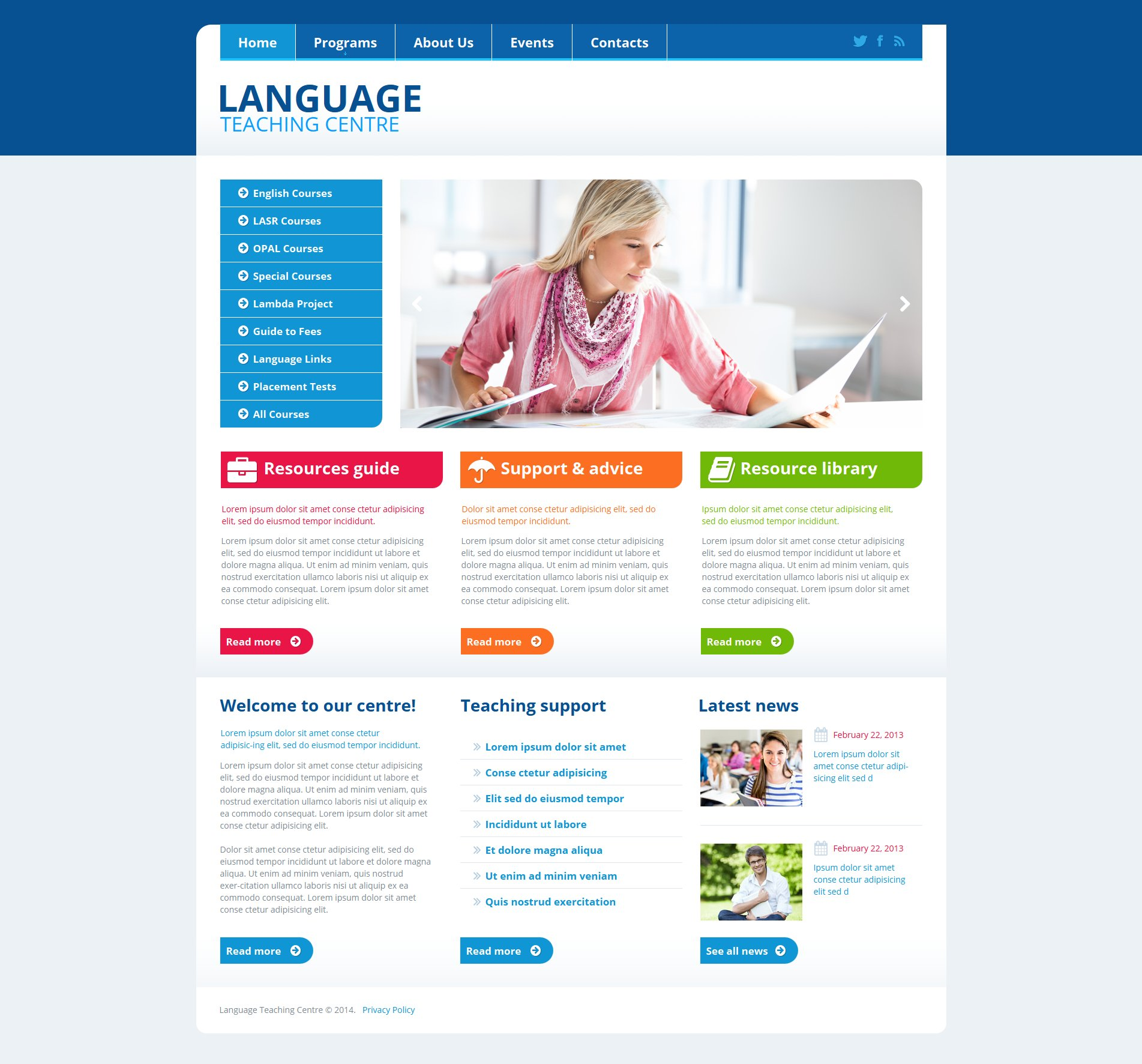 Language School Moto CMS HTML Template #47563