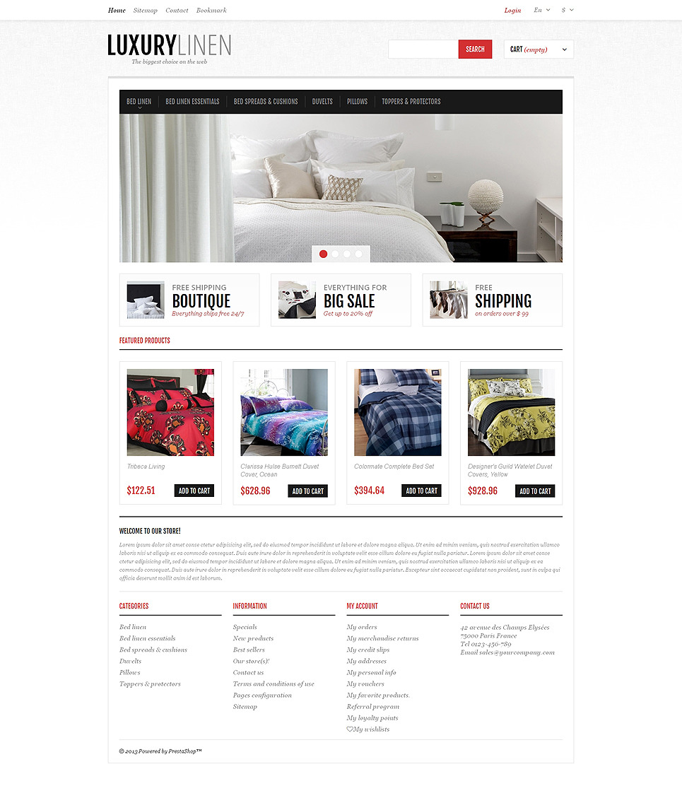 Luxurious Bed Linen PrestaShop Theme New Screenshots BIG