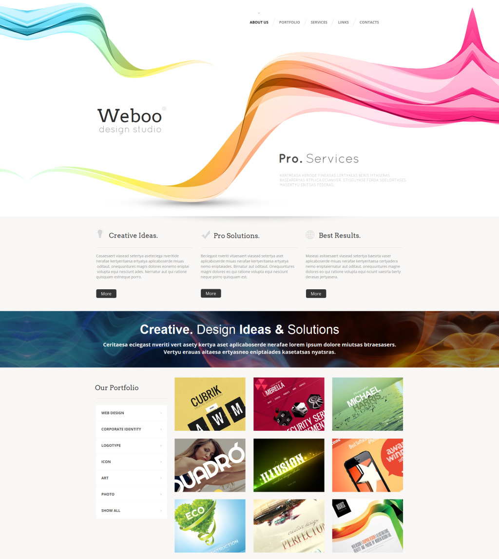 Tema moto cms html 47564 per un sito di design studio for Sito di design
