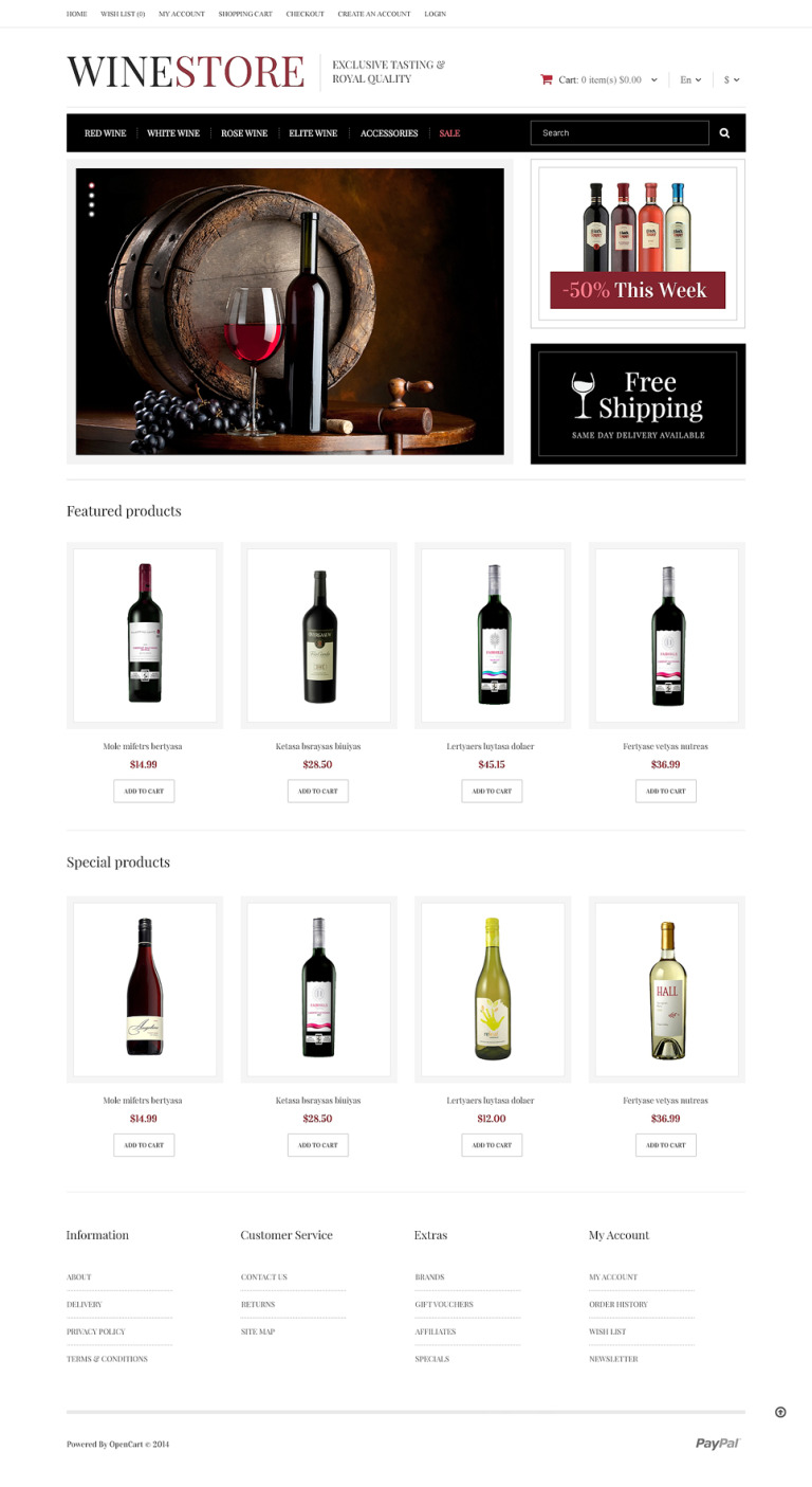 Noble Wines OpenCart Template New Screenshots BIG