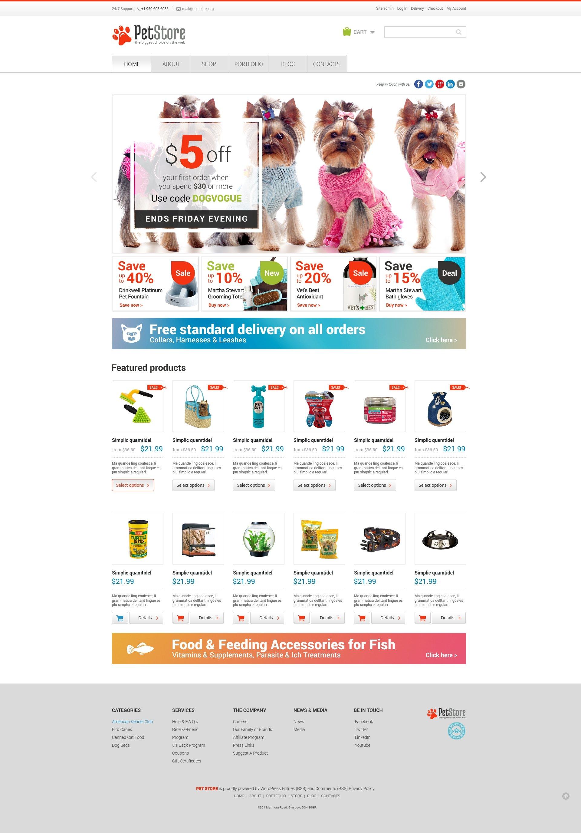 Pet Shop Responsive WooCommerce Theme