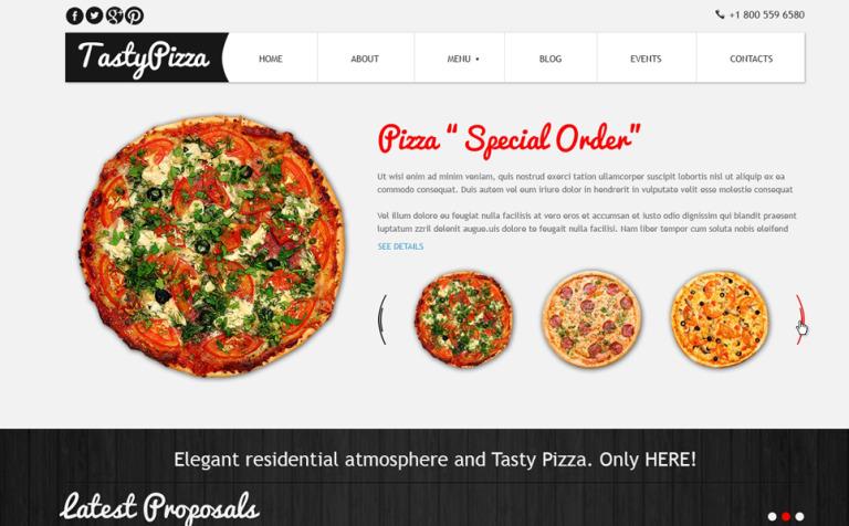 Plantilla Joomla #47508 para Sitio de Pizzerías