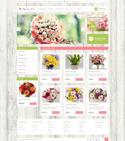 Plantilla OpenCart para Sitio de Tienda de Flores #47588
