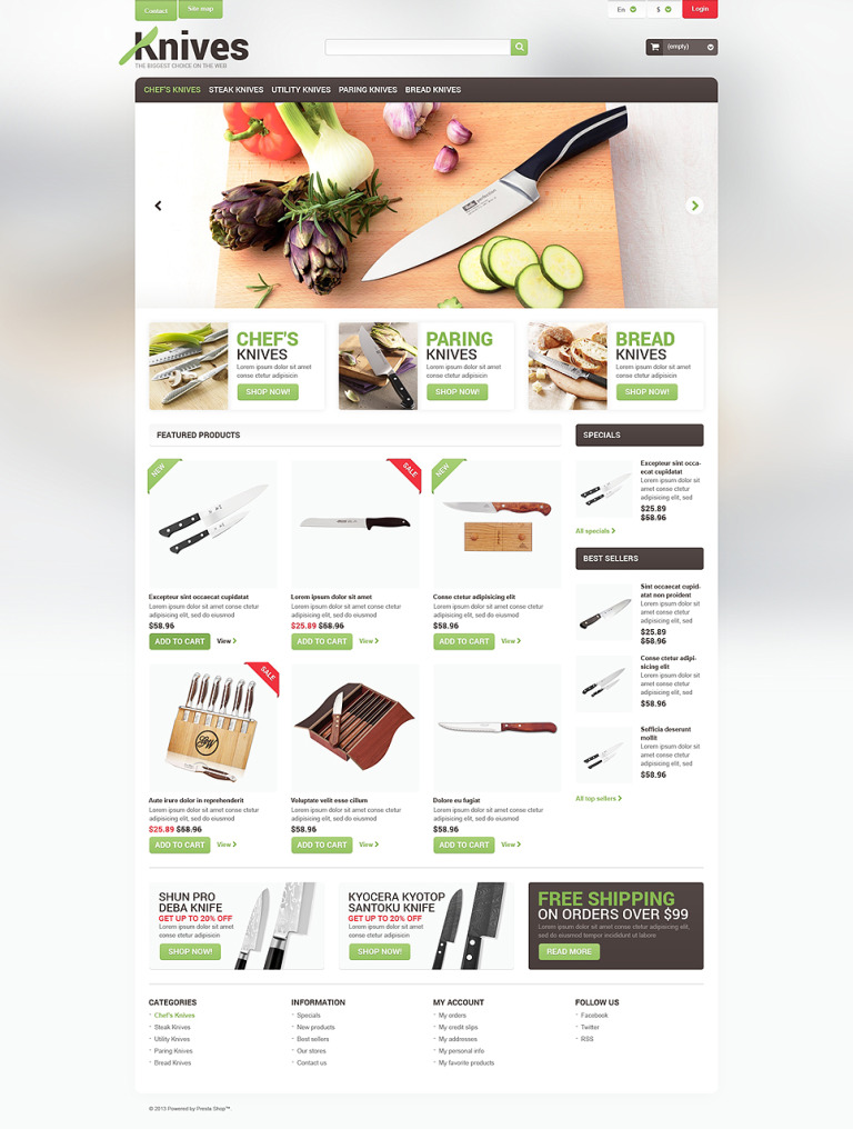 Professional Knives PrestaShop Theme New Screenshots BIG