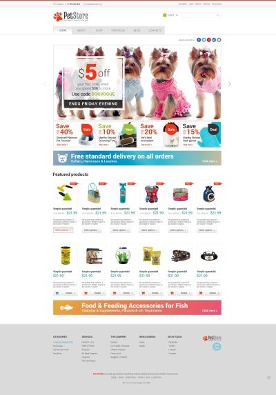 Responsive Tema WooCommerce #47513 para Sitio de  para Tienda de Mascotas