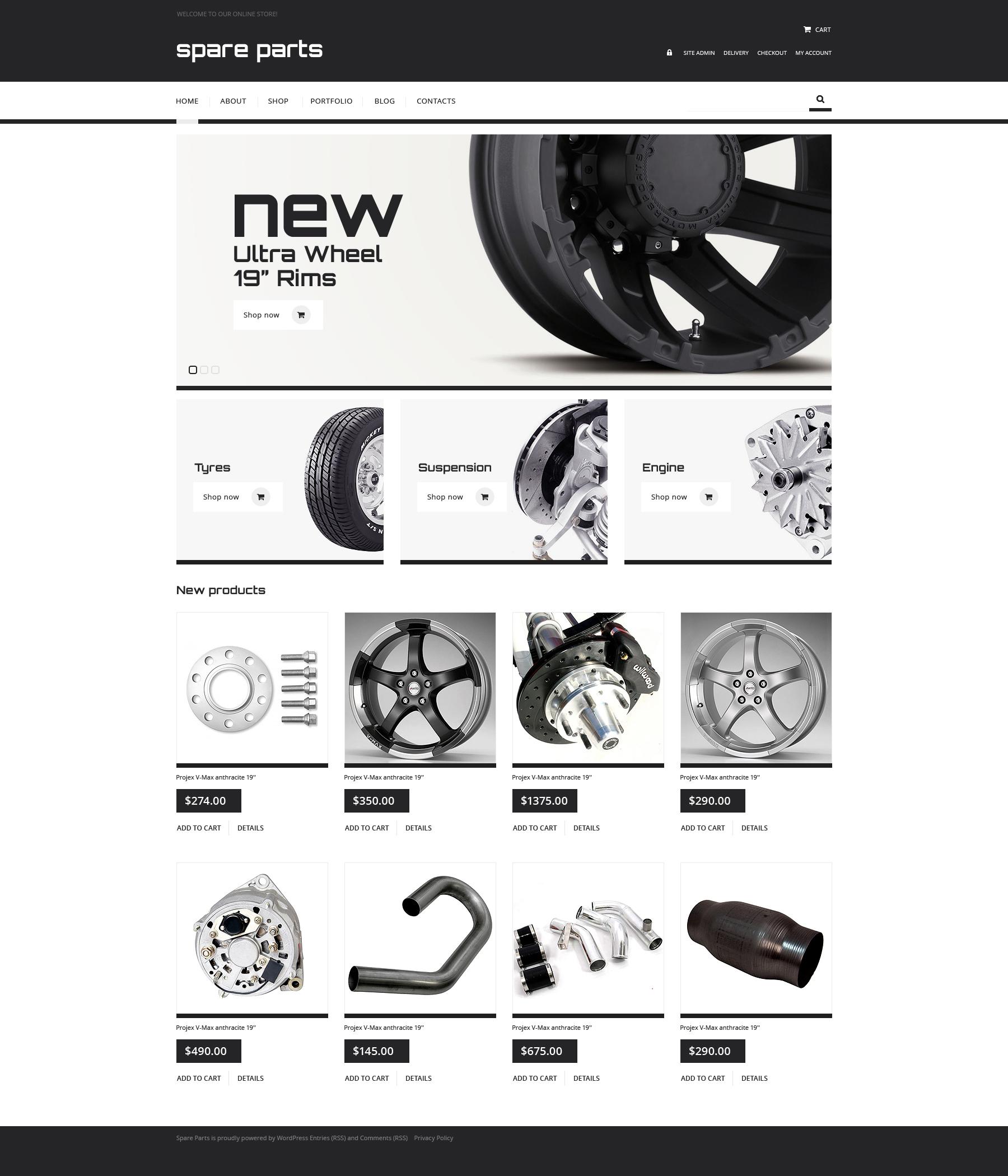 Thème WooCommerce adaptatif pour site de pièces automobiles #47530