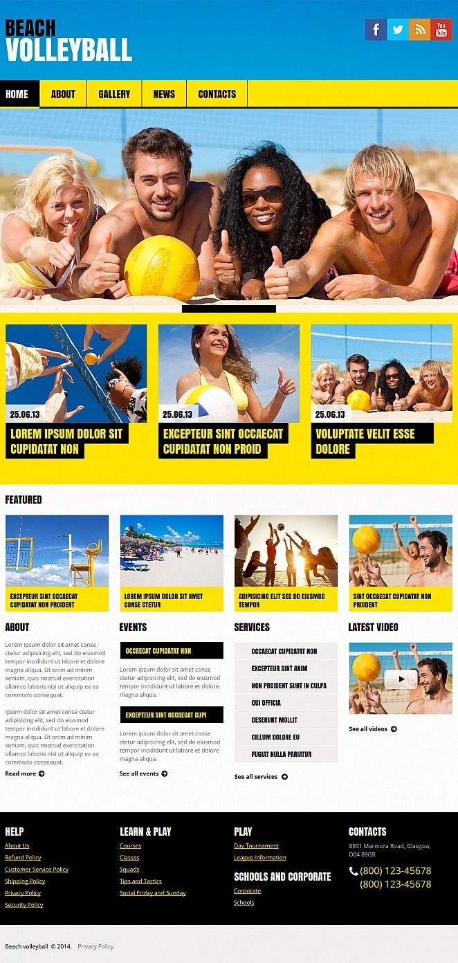 Volleyball Moto CMS HTML Template New Screenshots BIG