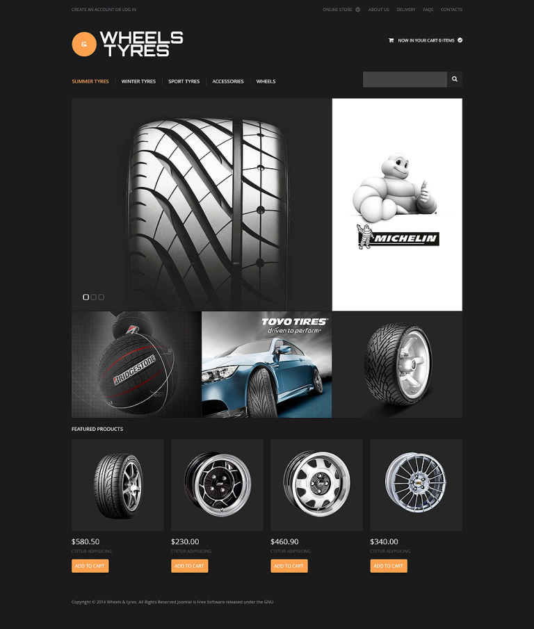 Wheels and Tyres VirtueMart Template New Screenshots BIG