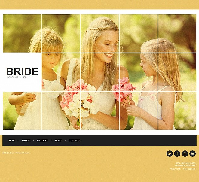 Wedding Planner Website Template with Yellow Background - image