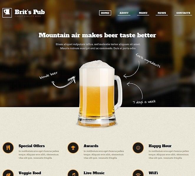 Luxusní Moto CMS HTML šablona na téma Hospody New Screenshots BIG