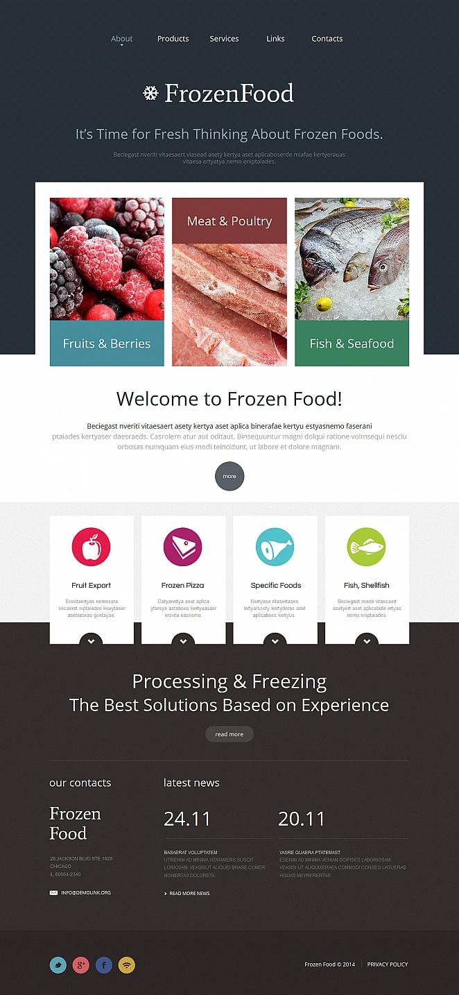 Frozen Food Website Template with Dark Background - image