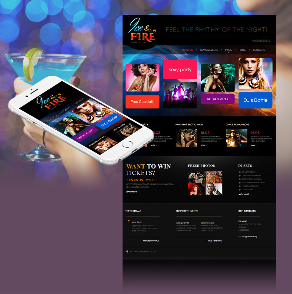 Night Club Website Template with Large Google Map - image