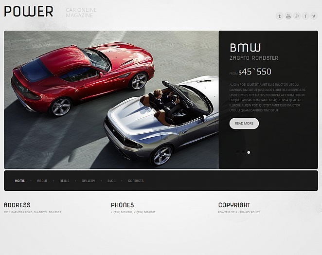 Black-and-White Car Magazine Template with Bottom Navigation - image