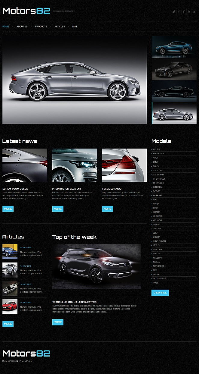 Black Cars Website Template with a Grid Gallery - image