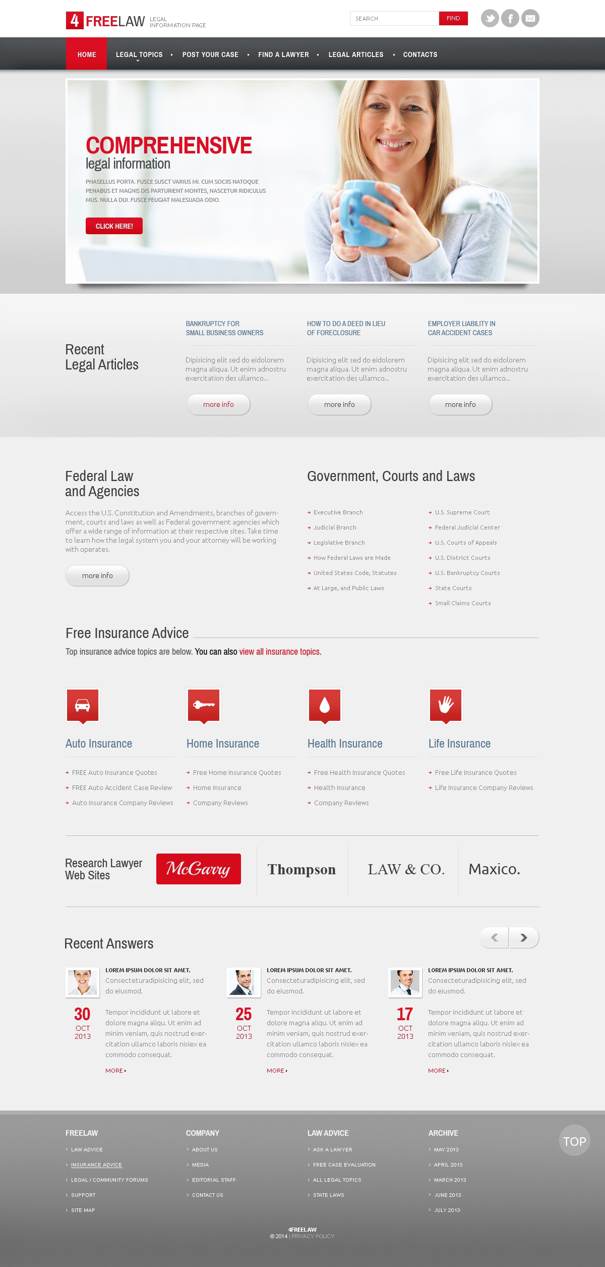 Адаптивный HTML шаблон №47671 на тему юрист