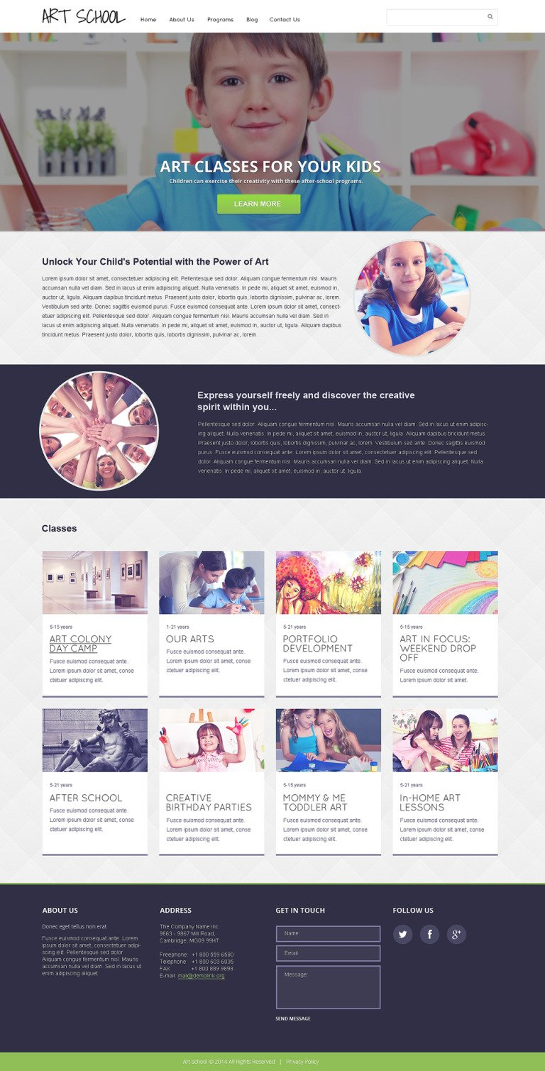Art School Responsive Website Template New Screenshots BIG