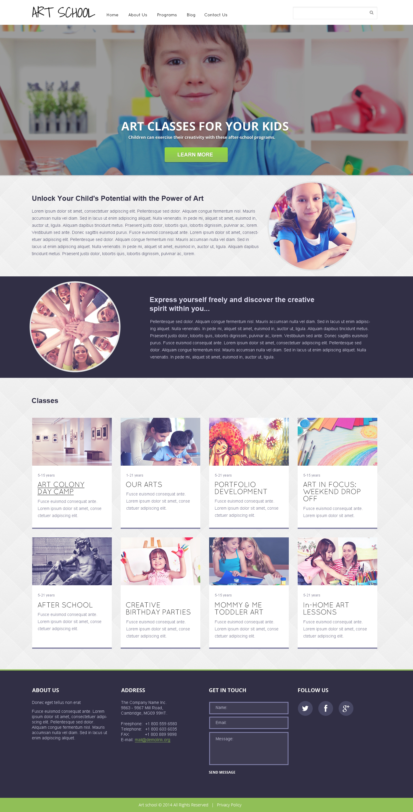 Art School Responsive Website Template - screenshot