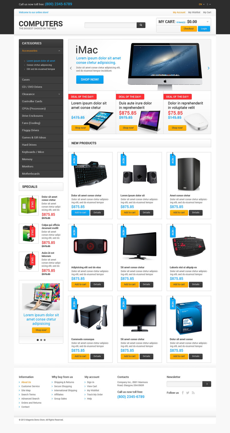 Best Computers on the Net Magento Theme New Screenshots BIG