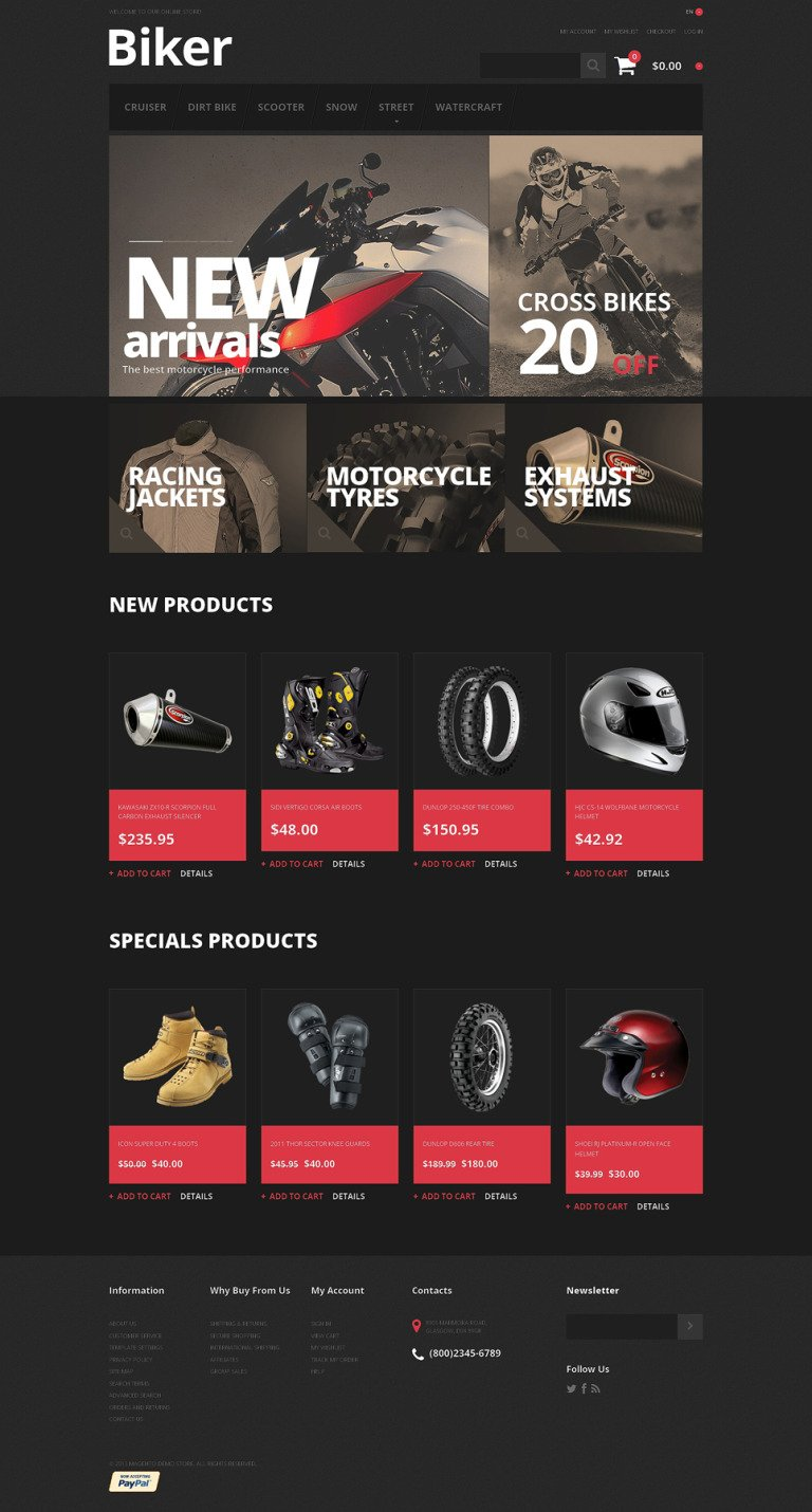 Biker's Store Magento Theme New Screenshots BIG