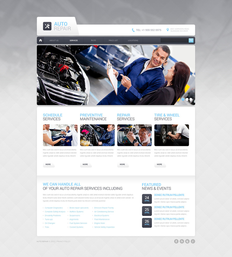 Car Repair Drupal Template New Screenshots BIG