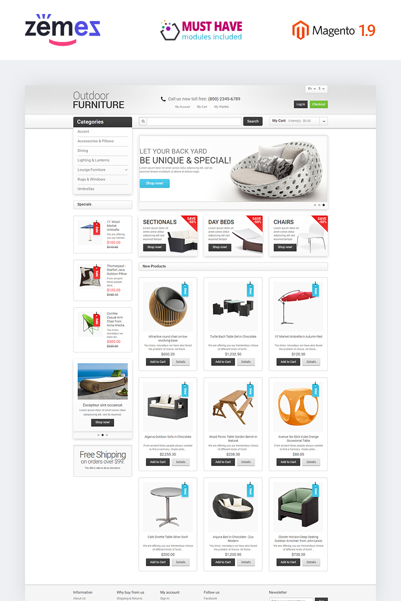 """Furniture for Your Garden"" Responsive Magento Thema №47678"