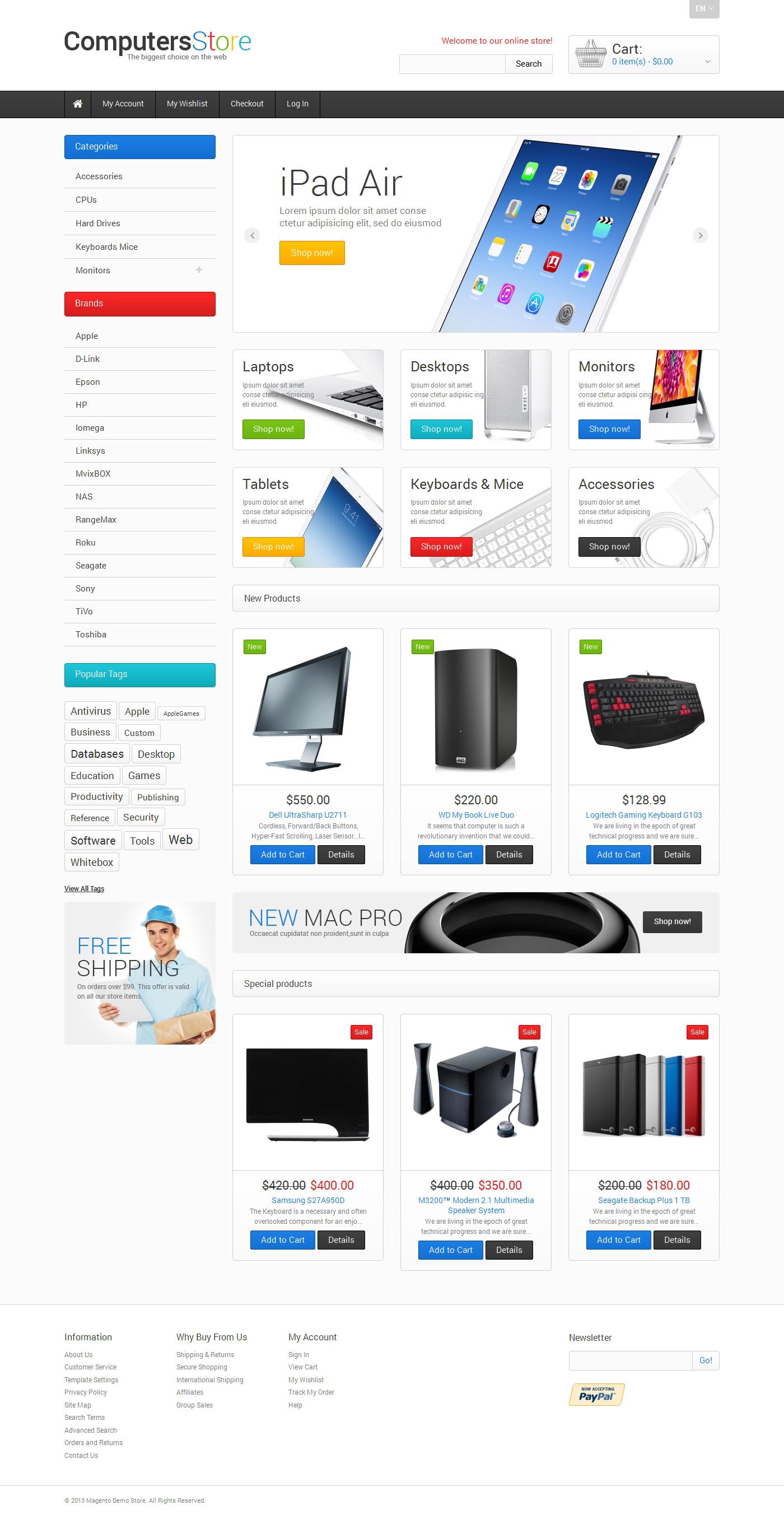 """""""Le plus grand magasin d'ordinateurs"""" thème Magento adaptatif #47676"""