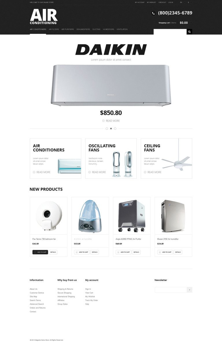 Modern Air Conditioning Magento Theme New Screenshots BIG
