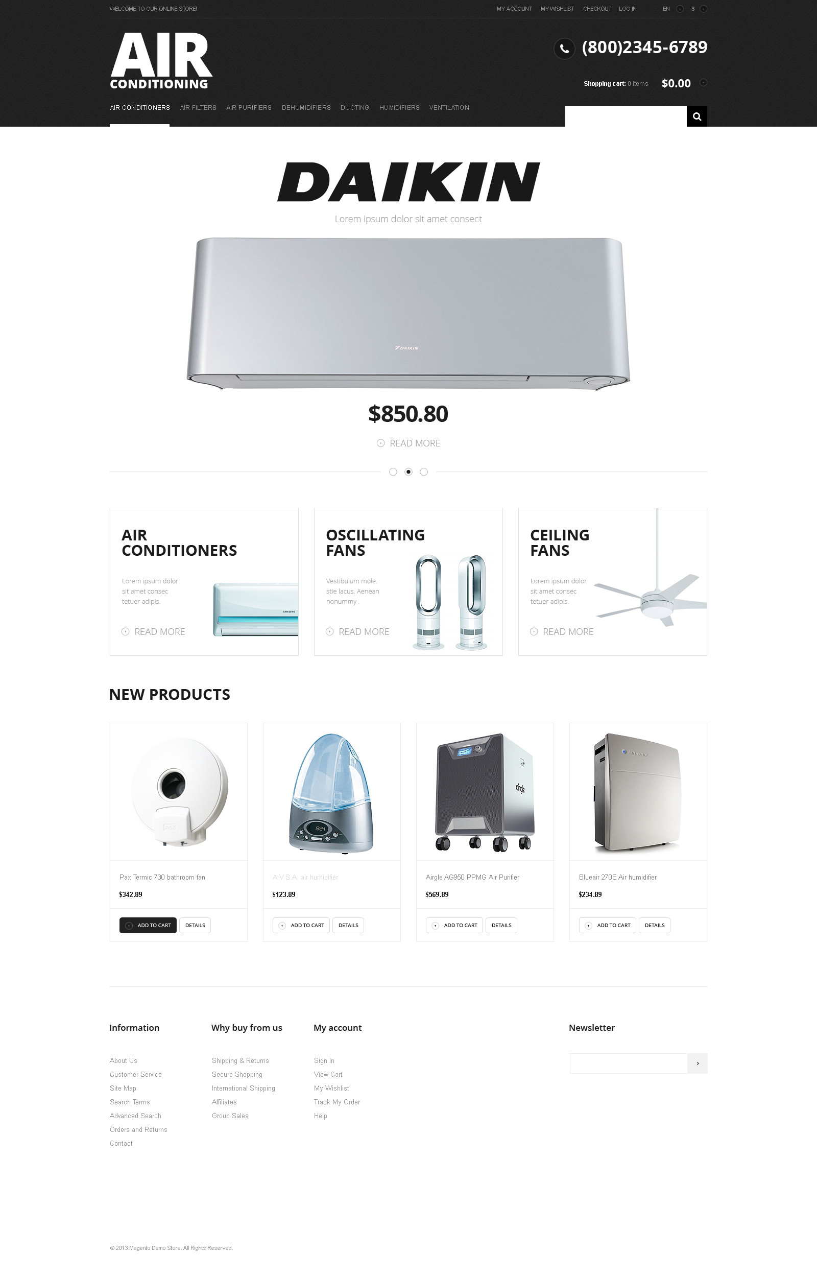 """Modern Air Conditioning"" 响应式Magento模板 #47675"