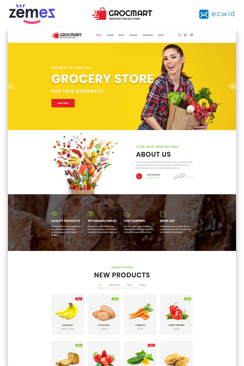 "Plantilla Web ""Grocmart - Grocery Store Multipage Classic HTML"" #47684"