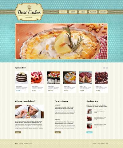 Responsive Plantilla Web #47639 para Sitio de  para Panaderías