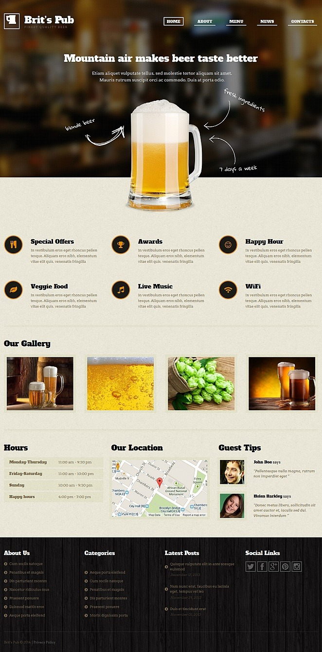 Pub Moto CMS HTML Template New Screenshots BIG