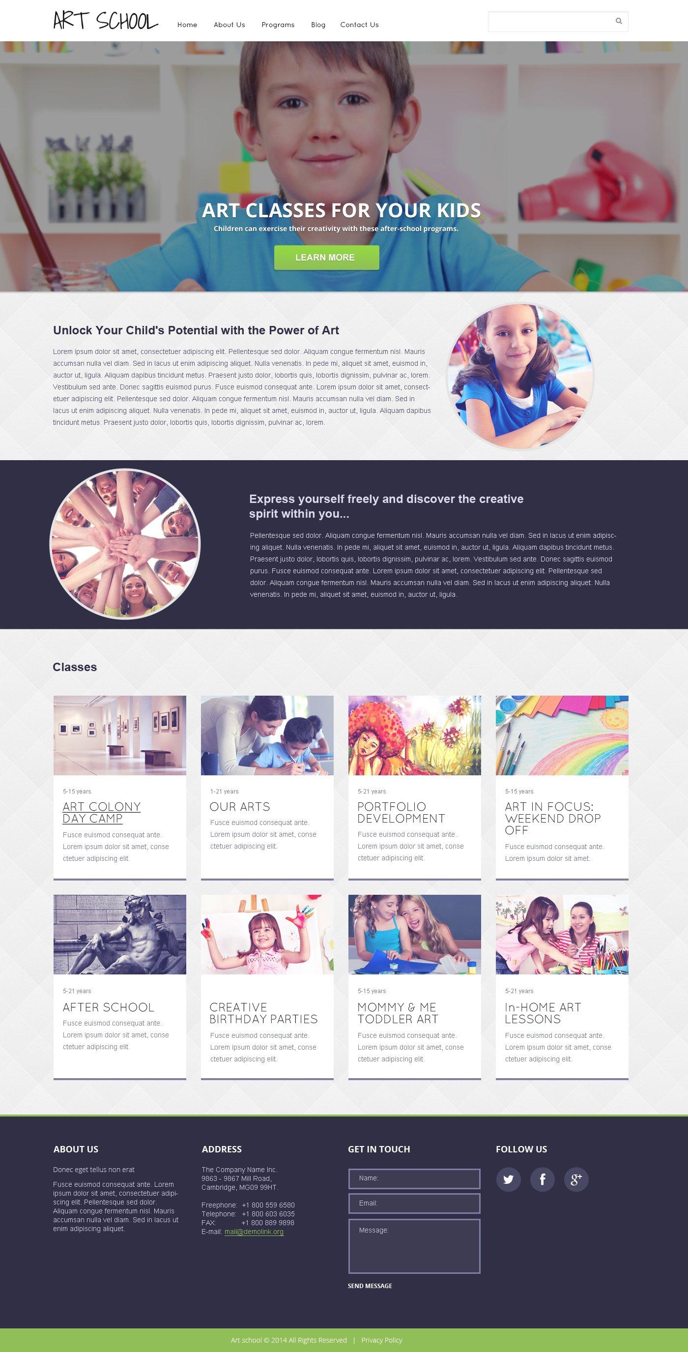 Responsive Website template over Kunst School №47644 - screenshot
