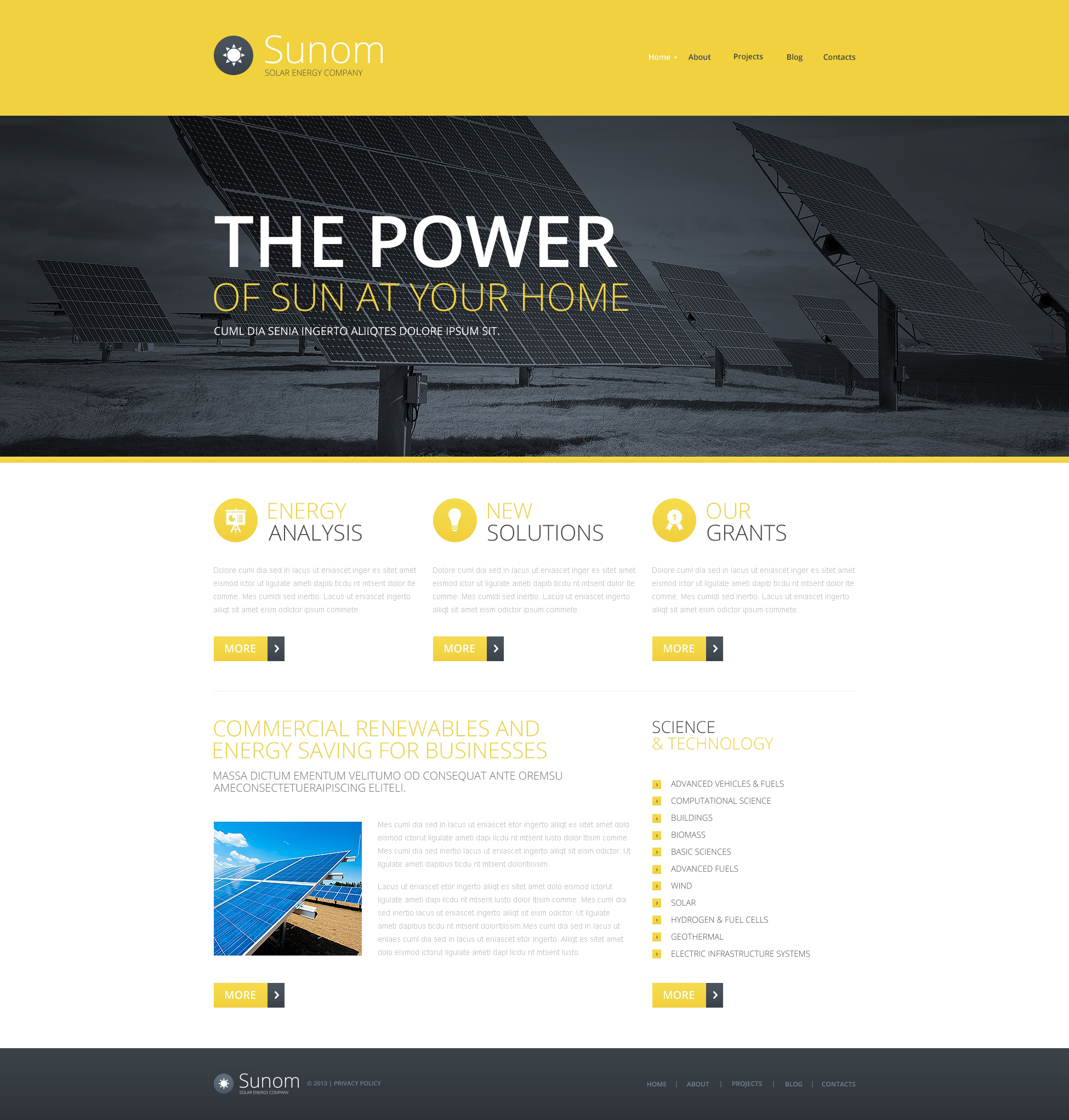 Responsywny szablon strony www #47650 na temat: energia słoneczna