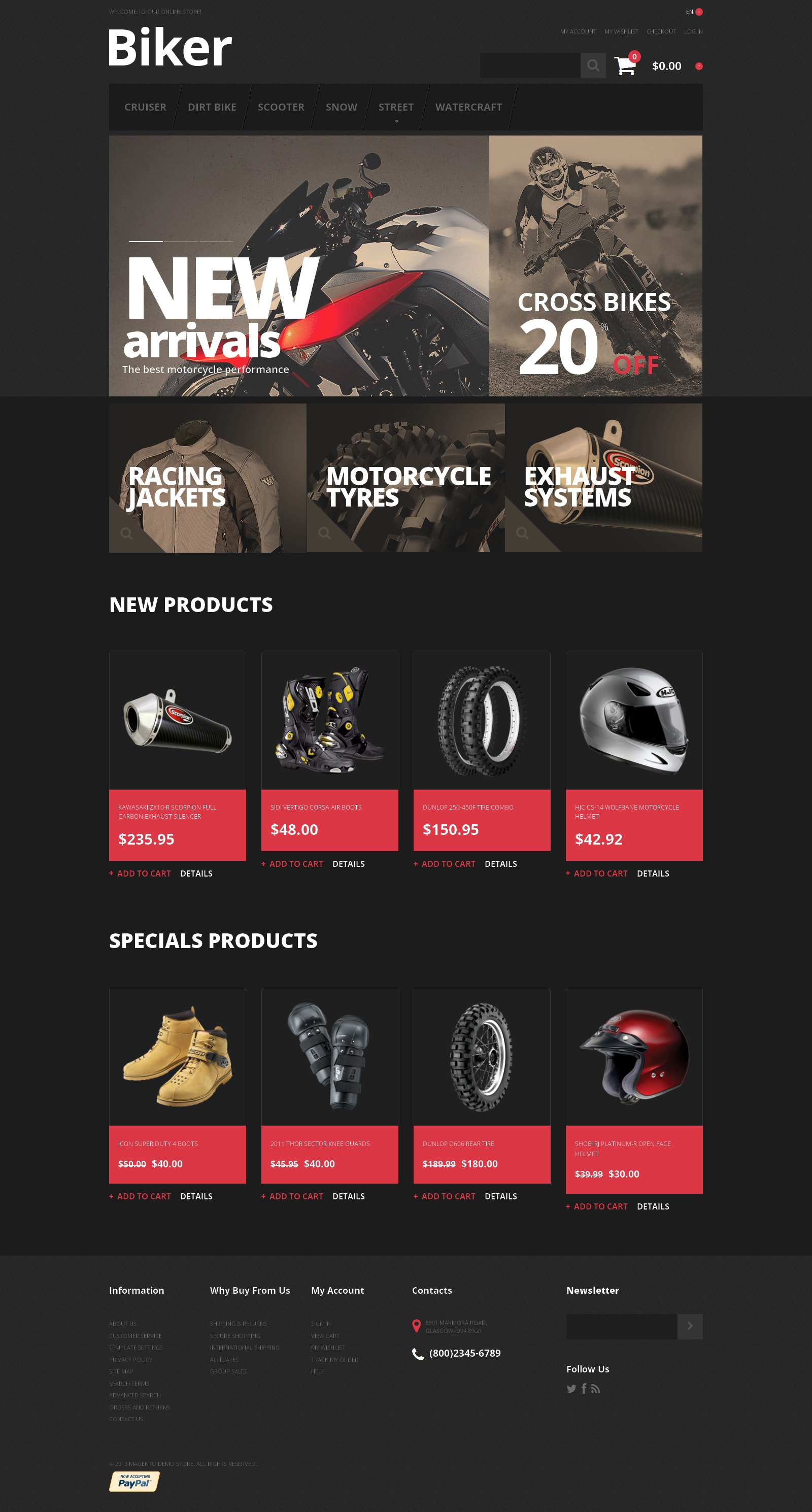Reszponzív Biker's Store Magento sablon 47672