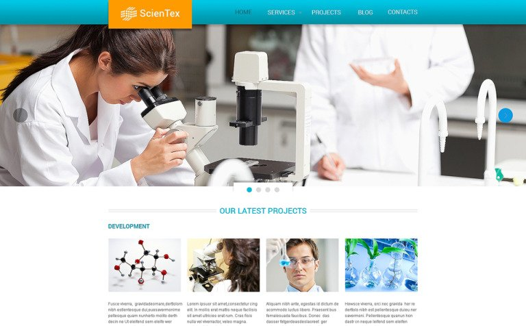 Science Lab Responsive Website Template #47685