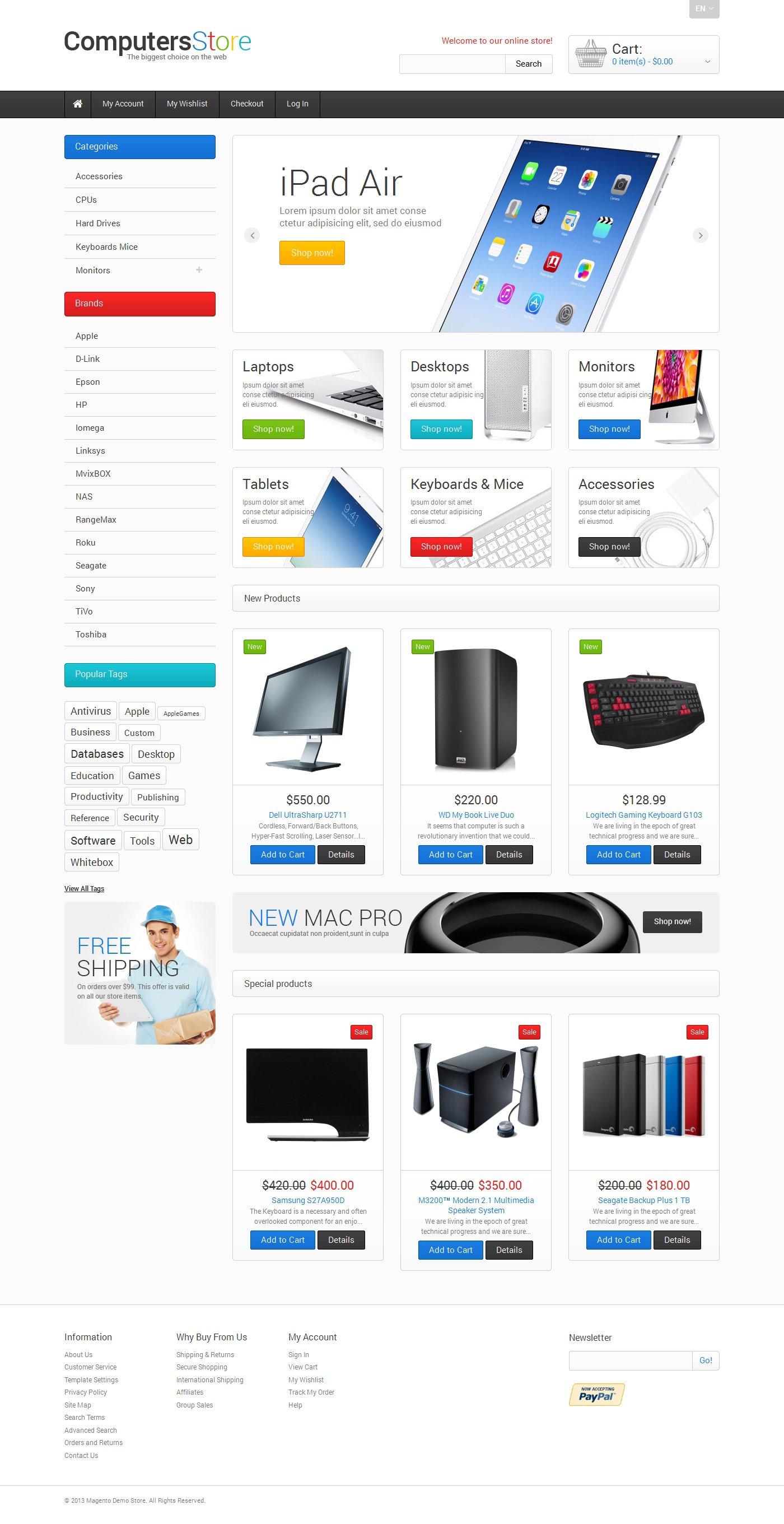 "Tema Magento Responsive #47676 ""The Biggest Computers Store"""
