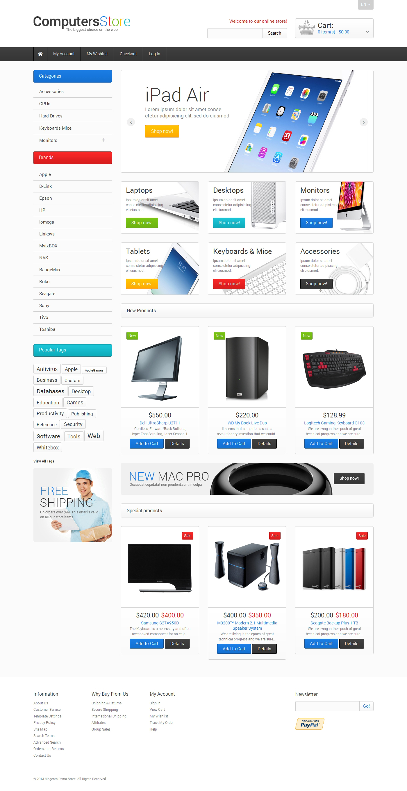 """Tema Magento """"The Biggest Computers Store"""" #47676"""
