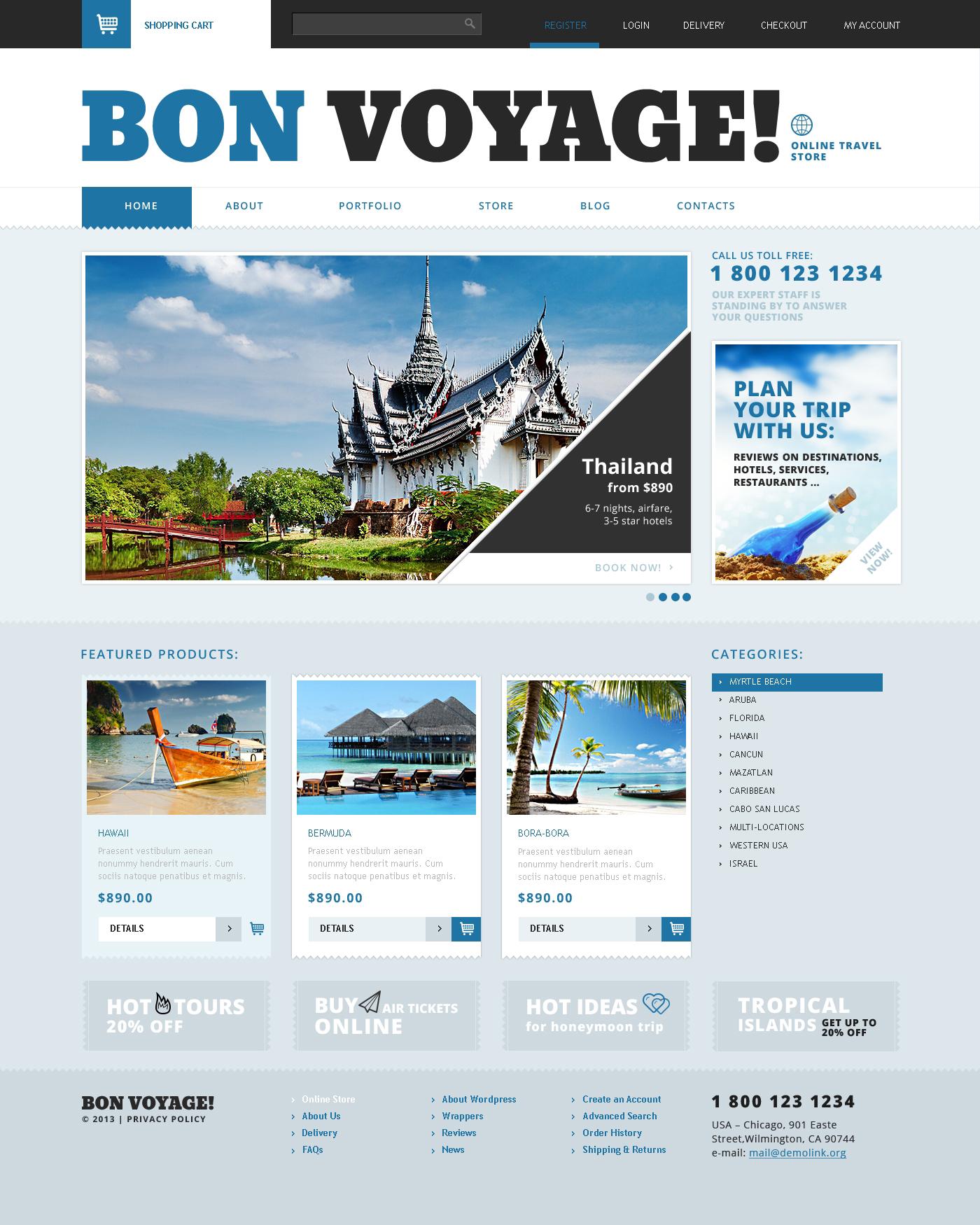 Template WooCommerce Responsive #47683 per Un Sito di Agenzia di Viaggi