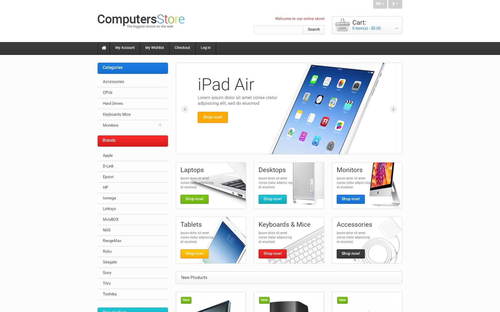 """""""The Biggest Computers Store"""" Responsive Magento Thema №47676"""