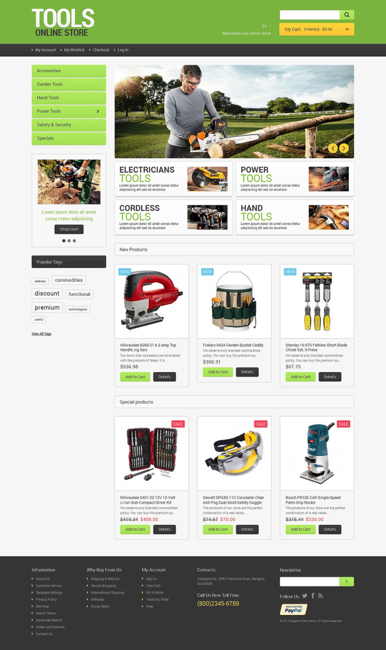 Tools Online Magento Theme New Screenshots BIG