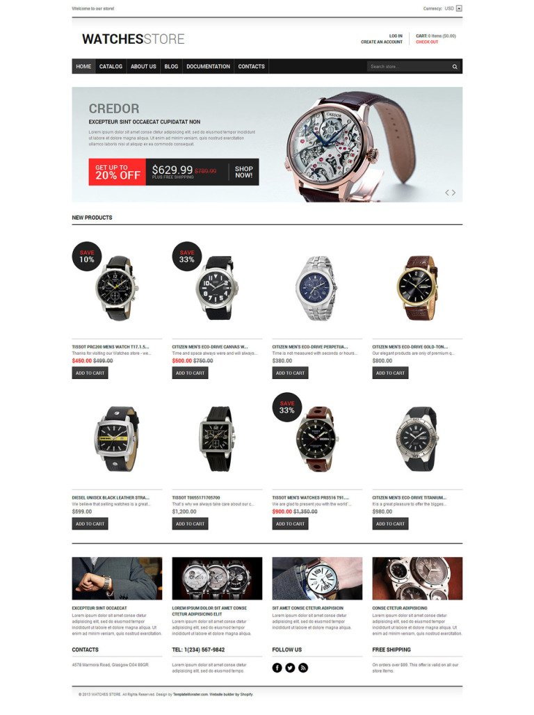 Watches Responsive Shopify Theme New Screenshots BIG