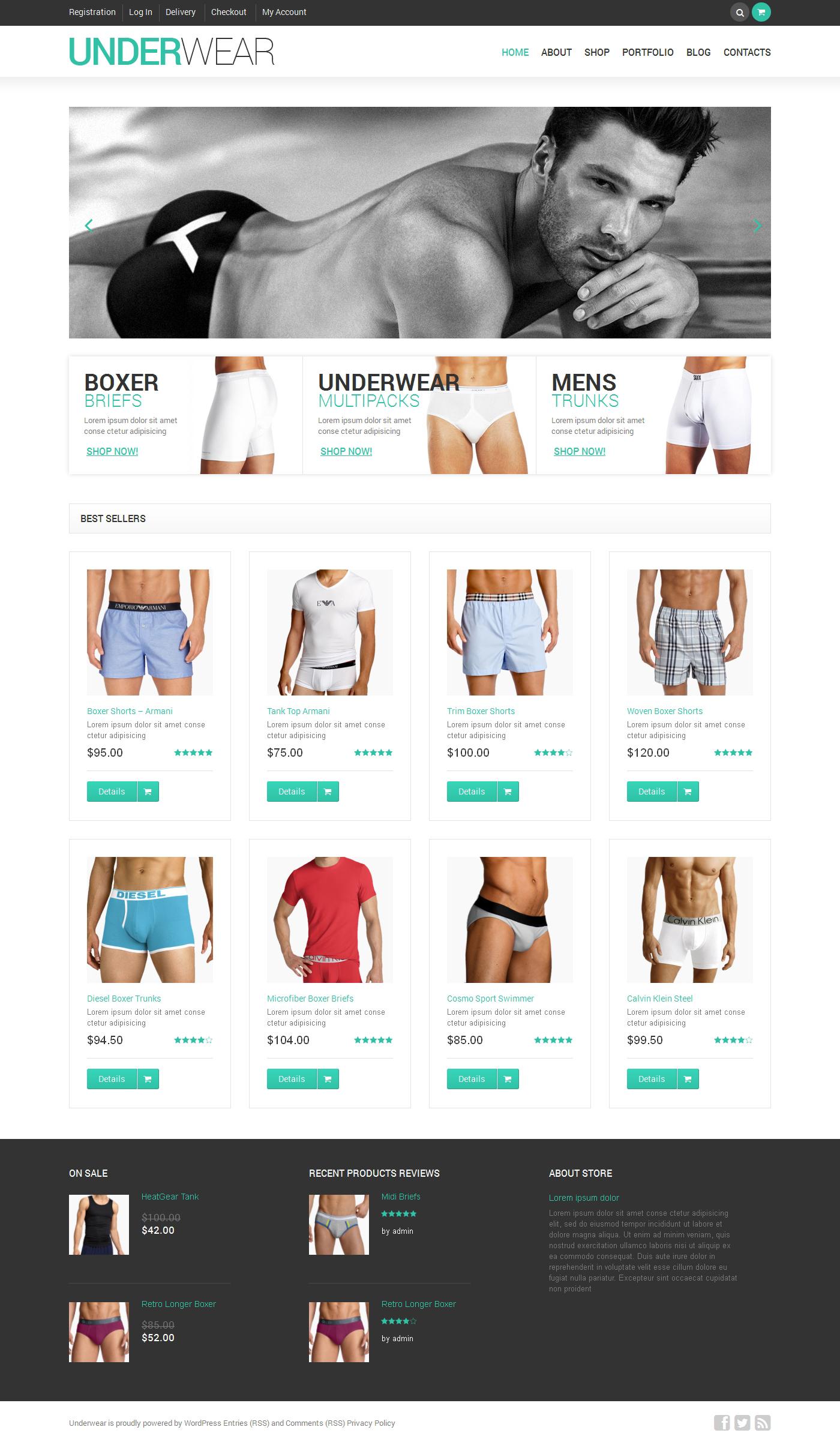 """WooCommerce Theme namens """"Male Underwear"""" #47696 - Screenshot"""