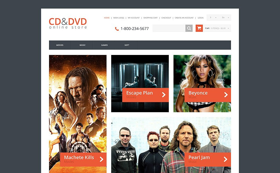 Thème OpenCart adaptatif  pour magasin de DVD New Screenshots BIG