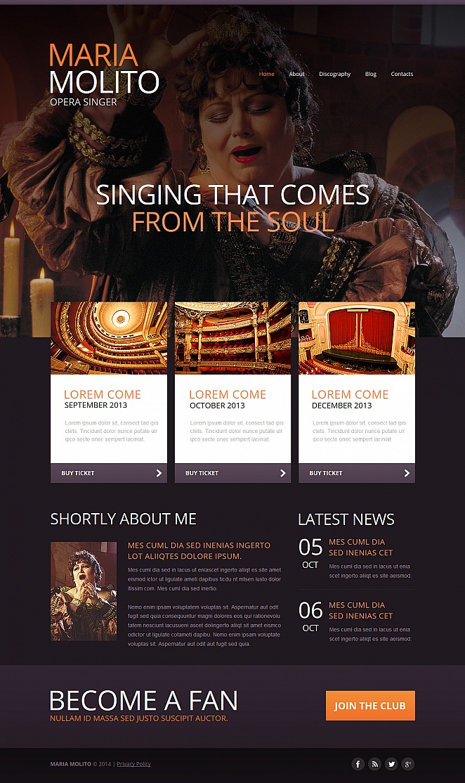 Opera Singer's Personal Page Template with Large Header Image - image