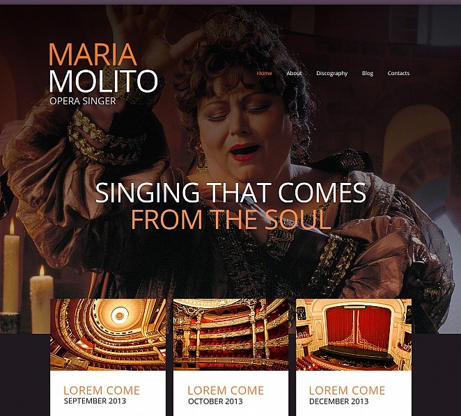 Szablon Moto CMS HTML #47734 na temat: piosenkarz New Screenshots BIG