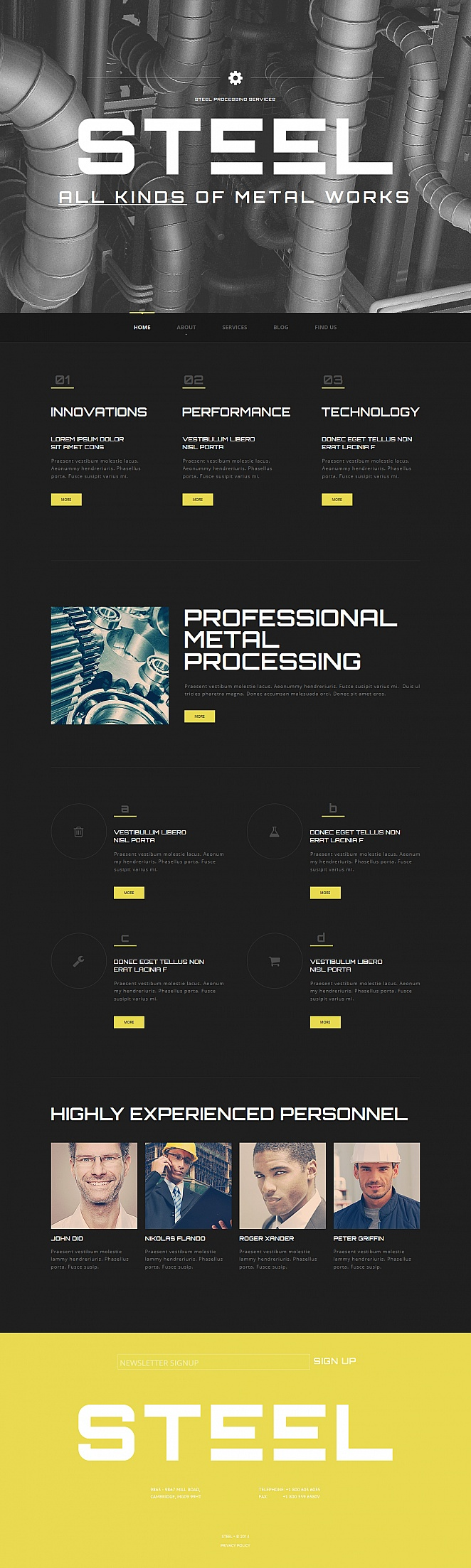 Black Metal Working Website Template with Large Yellow Footer - image
