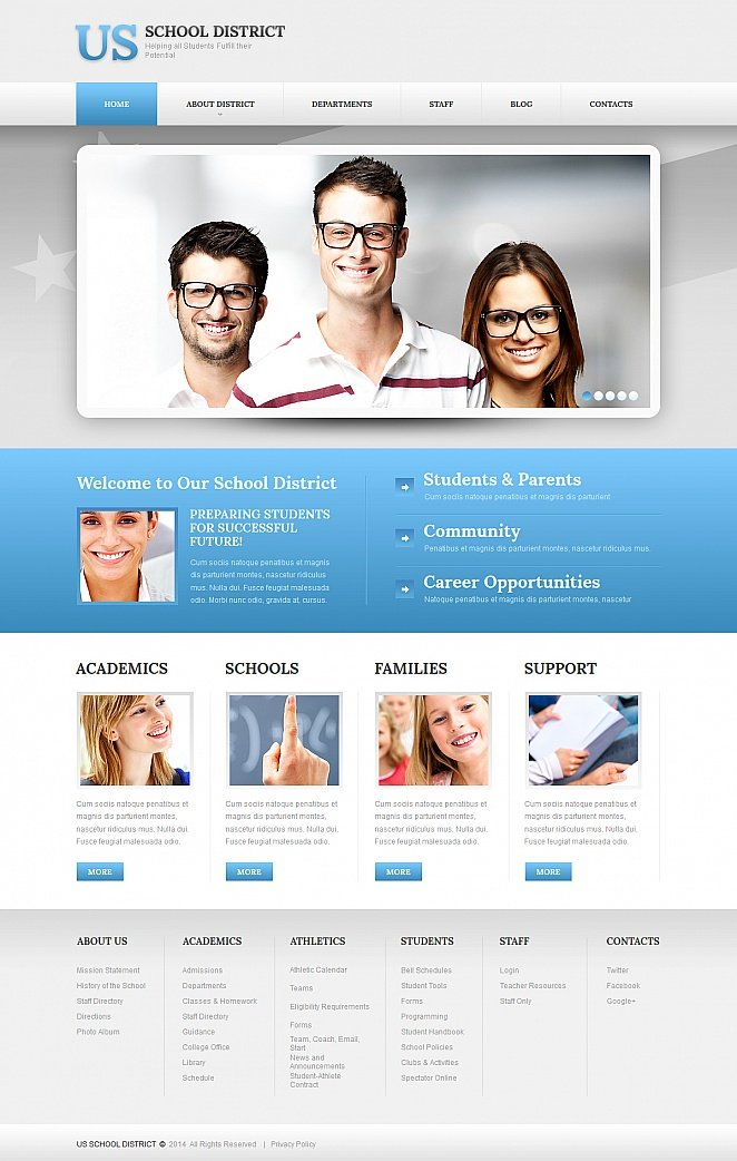 School District Website Template Developed in Gray and Blue Hues - image