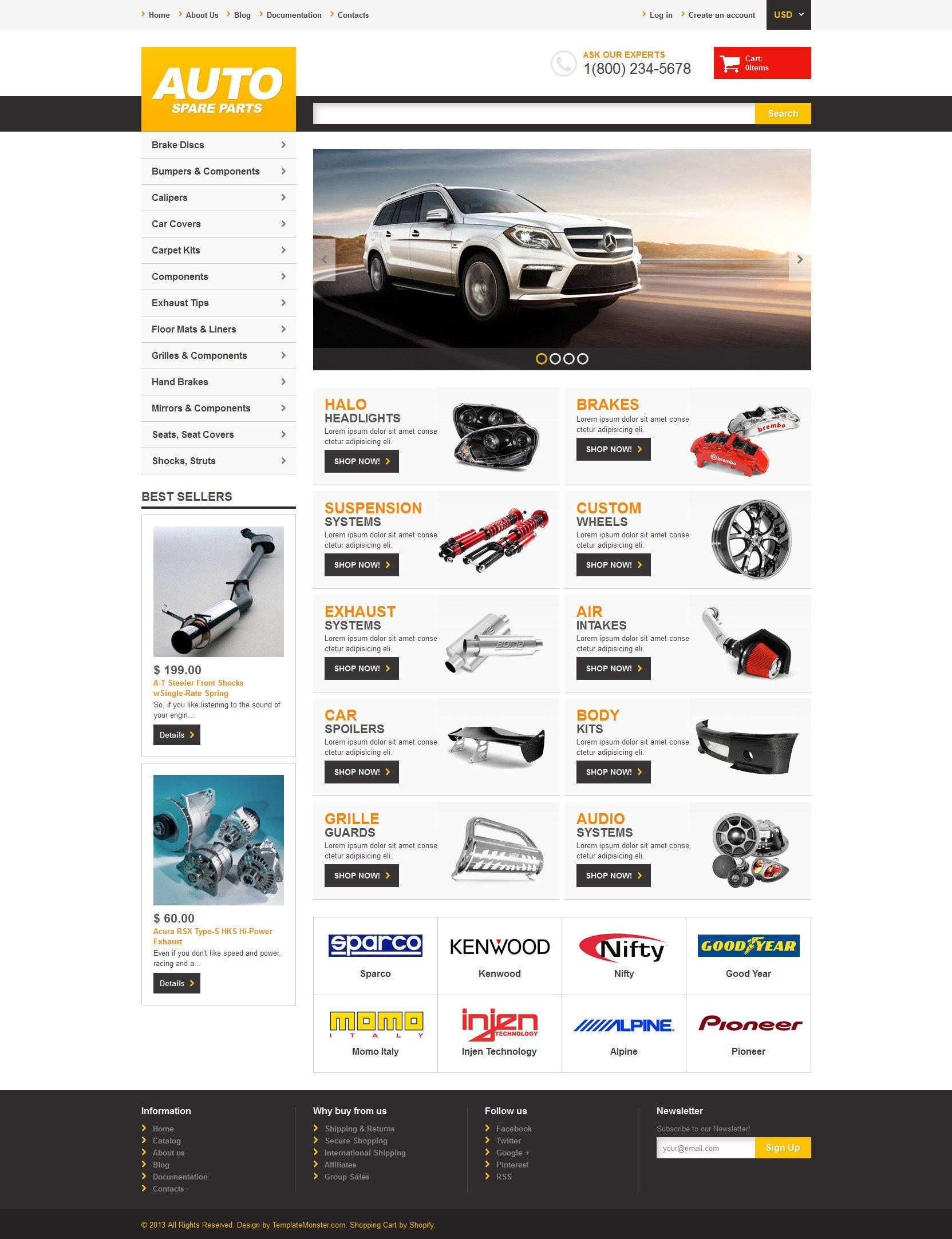 Адаптивний Shopify шаблон на тему автозапчастини №47703 - скріншот